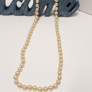 Long Talbots Faux Pearl Necklace